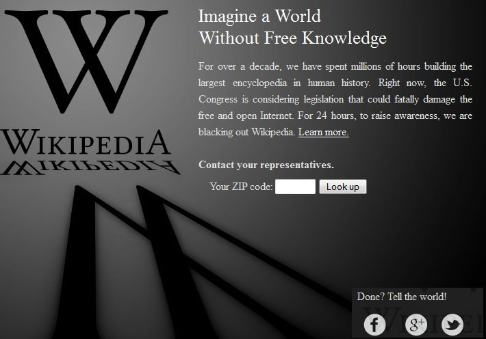 Wikipedia Blackout in protest against SOPA