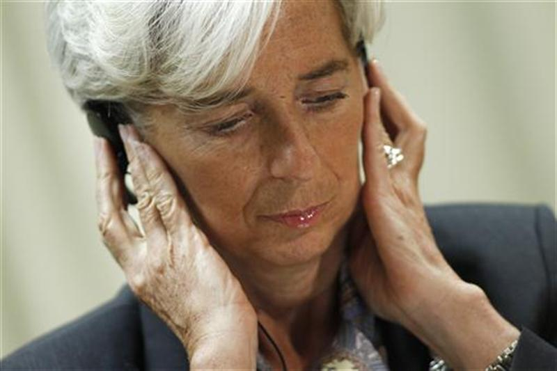 International Monetary Fund Managing Director Christine Lagarde attends a news conference in Brasilia