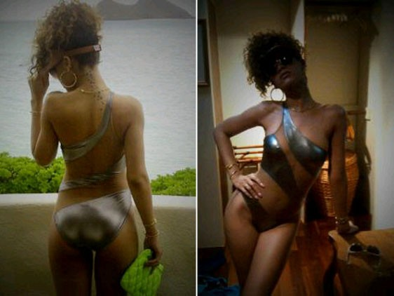 Rihanna took some amazing snaps of herself in a metallic monokini for a fan along with the message 'just for u'.