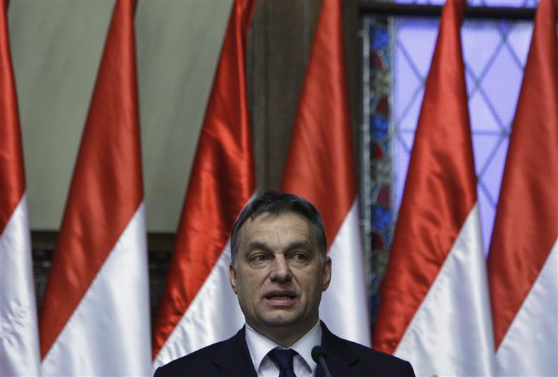 Hungary's PM Orban speaks during a news conference in Budapest