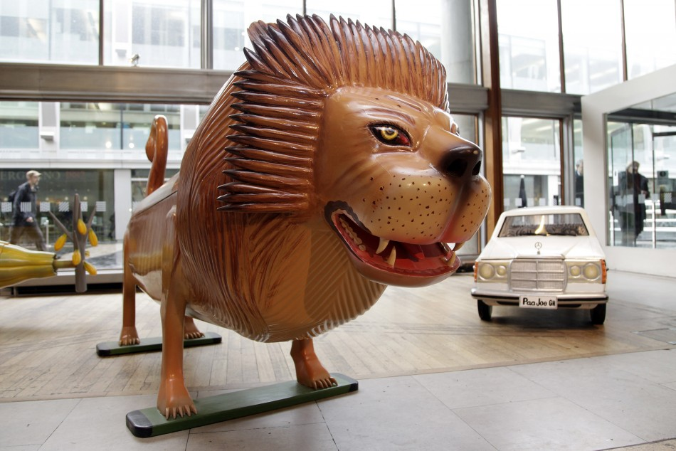A lion-shaped coffin is seen at the Southbank Centre in London