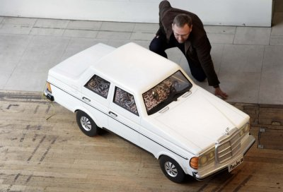 A Mercedes-shaped coffin