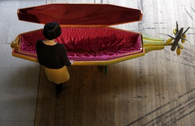 A coffin shaped like a cocoa pod