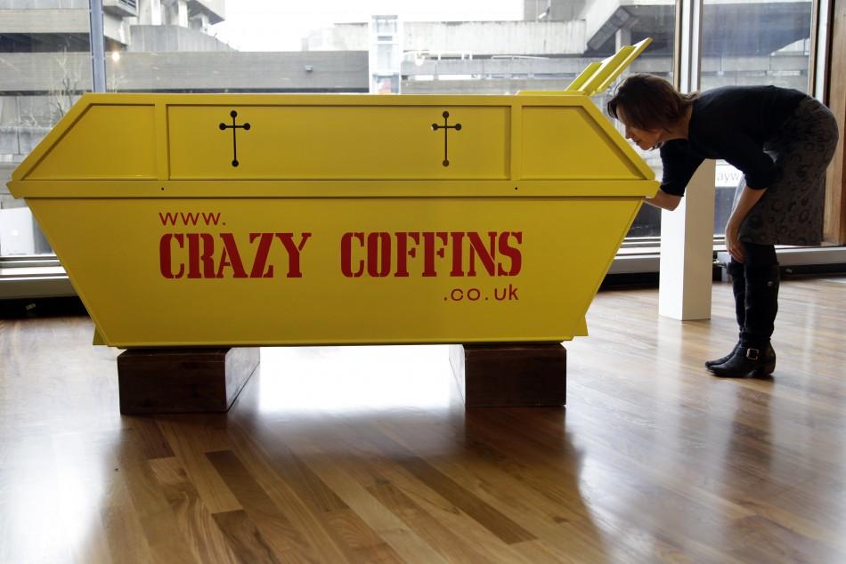 A skip-shaped coffin