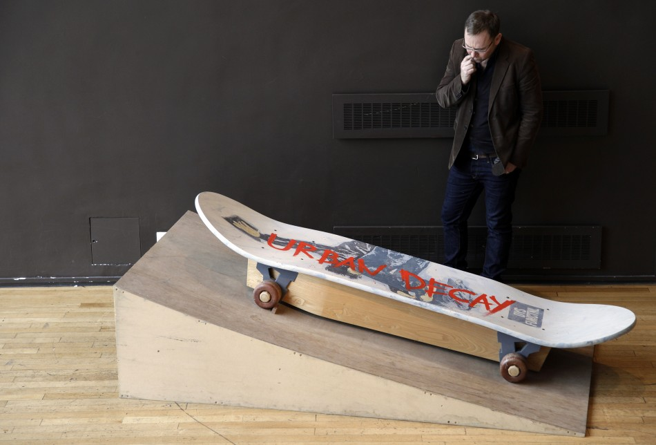 A skateboard-shaped coffin