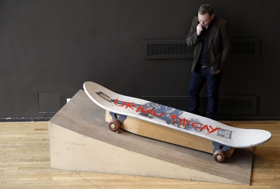 A skateboard-shaped coffin
