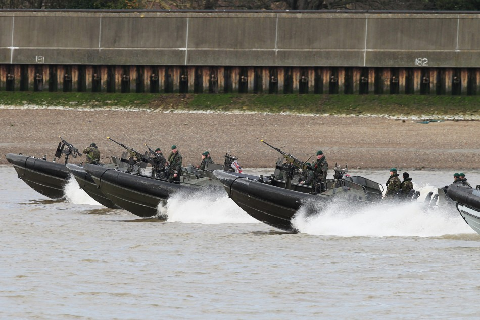 Elite Royal Marines near the Thames' banks