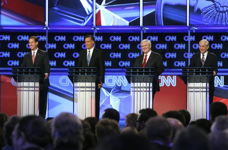 Republican presidential candidates (L-R) former U.S. Senator Rick Santorum (R-PA), former Massachusetts Governor Mitt Romney, former House Speaker Newt Gingrich and U.S. Rep. Ron Paul (R-TX)