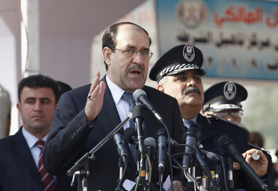 Iraq's Prime Minister Nuri al-Maliki gives a speech during a ceremony marking the Iraqi Police's 90th anniversary at a police academy in Baghdad Jan. 9, 2012.