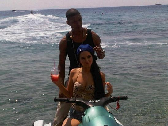 Tulisa and Fazer pose together during happier times