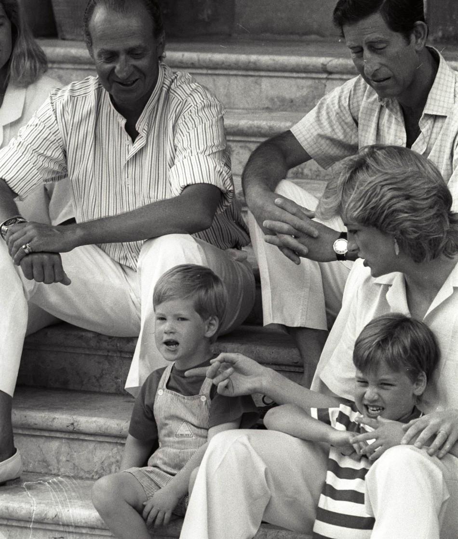 Princess Diana with Prince Charles and King Juan Carlos