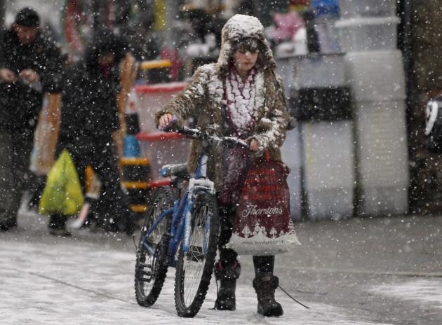 Rain, sleet and snow are expected across Britain