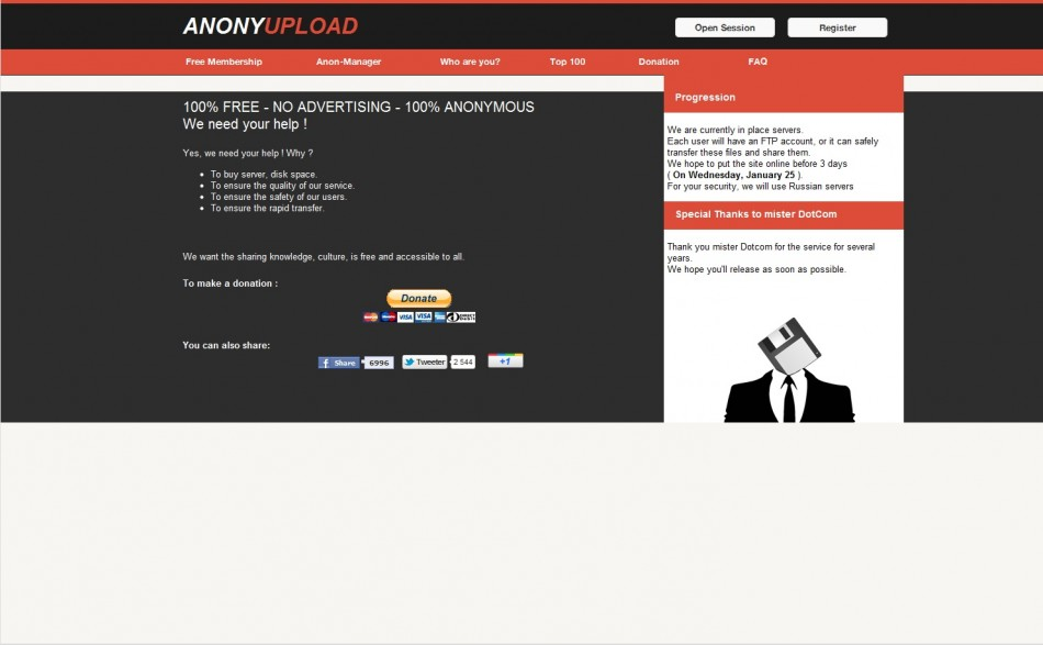 Censorship Wars: Anonymous Answer Megaupload's Death with Anonyupload Alternative
