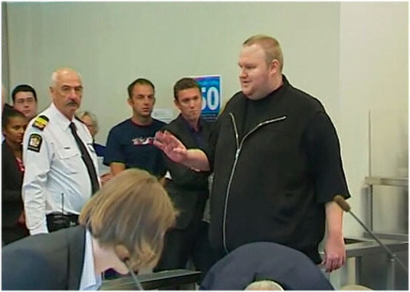 A still image from video shows founder of file-sharing website Megaupload Dotcom at court in Auckland
