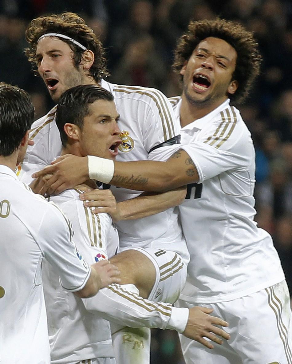 Esteban Granero celebrates with Ronaldo on Sunday