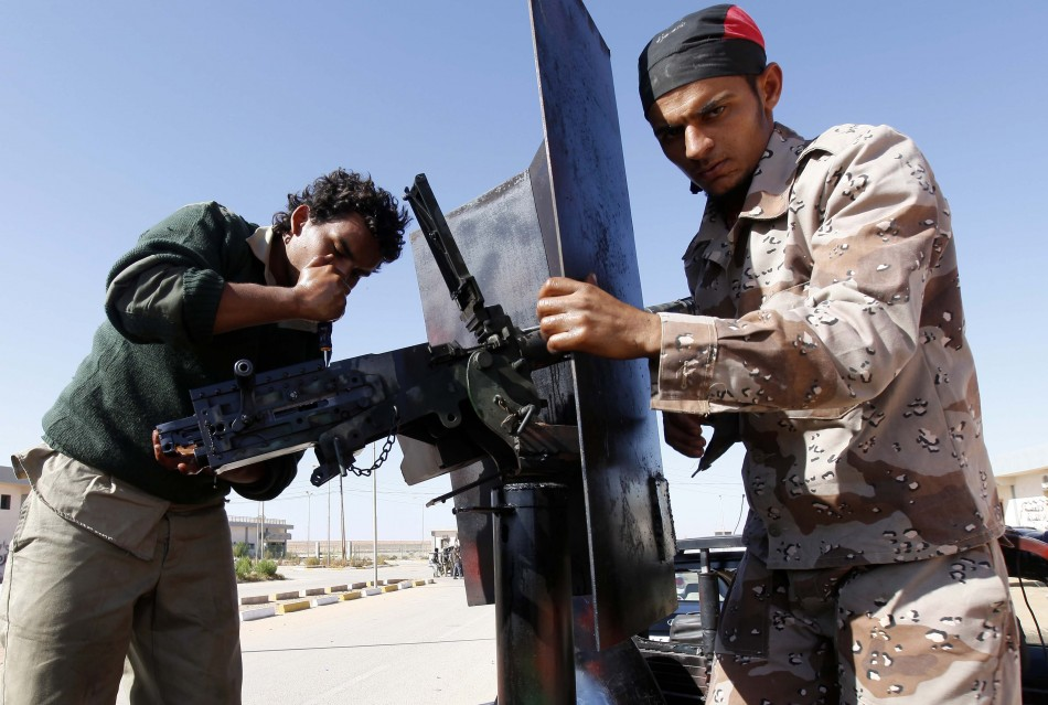 Fighters with Libya's interim government