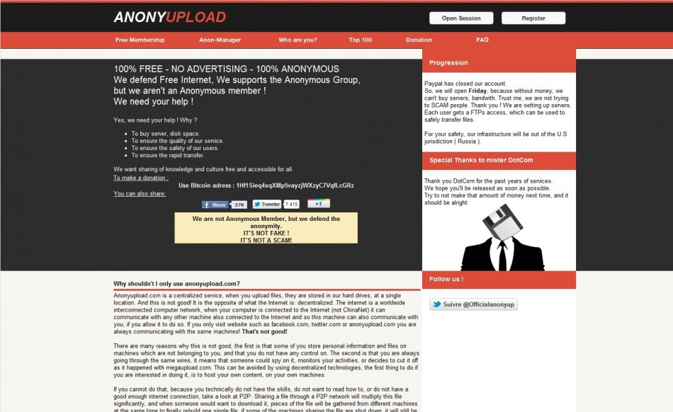 Anonyupload Creator: Why Won't Anonymous Work with me?