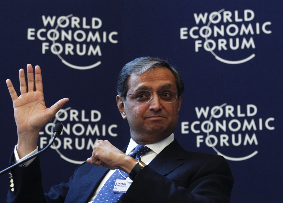 Pandit, Chief Executive Officer, Citi, of the U.S., Co-Chair of the World Economic Forum Annual Meeting 2012, attends a session at the World Economic Forum (WEF) in Davos