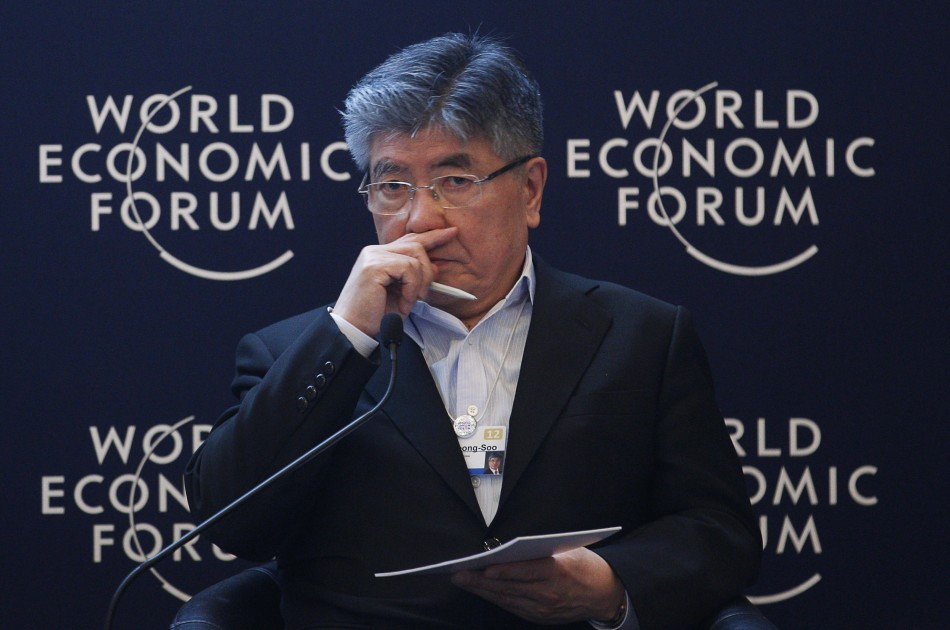 Kim Choong-Soo, Governor of the Bank of Korea, attends a session at the World Economic Forum (WEF) in Davos
