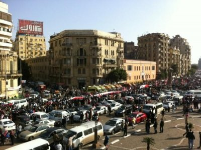 Protesters take to the streets in Cairo to mark the 25 January anniversary