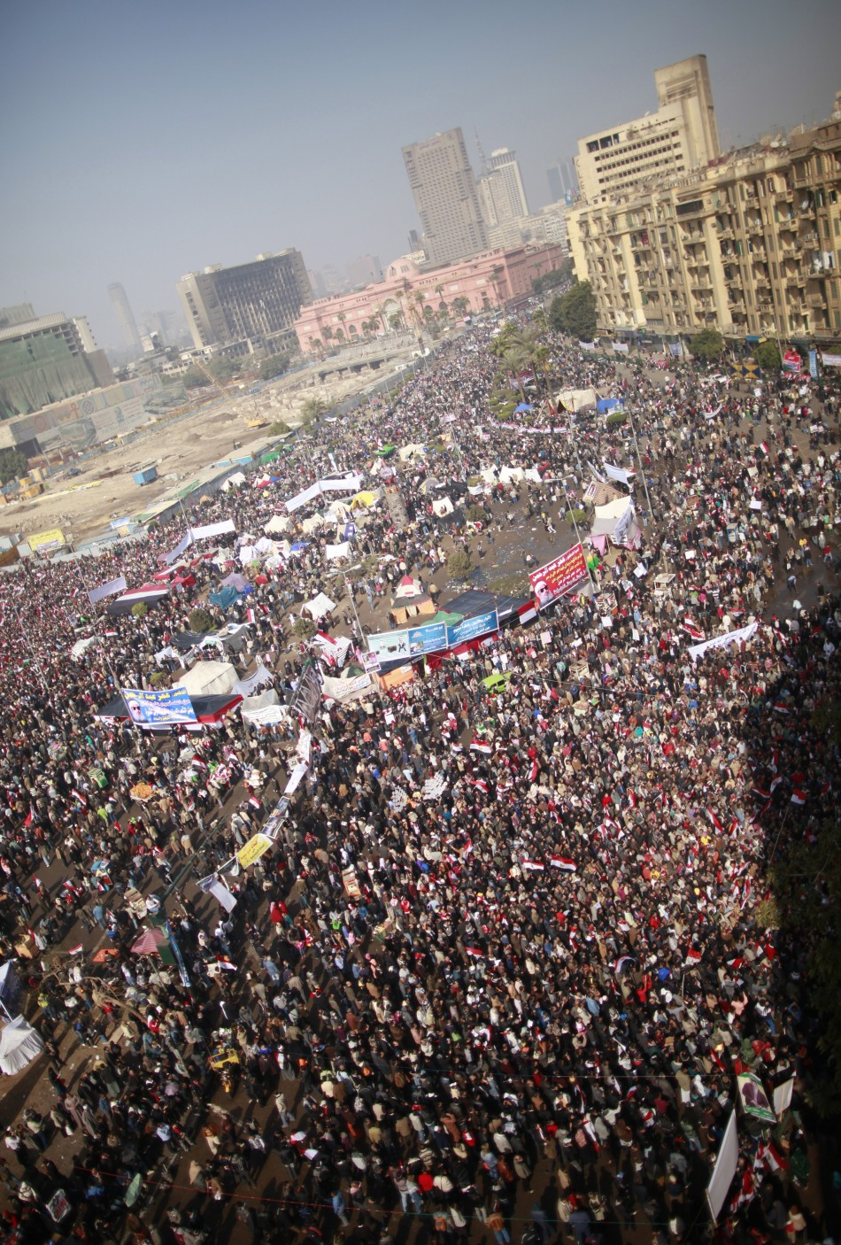 Demonstrators gather at Tahrir Square during a protest marking the first anniversary of Egypt's uprising in Cairo
