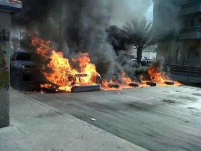 Road blocks set up by violent opposiition activists in in Al-Daih village