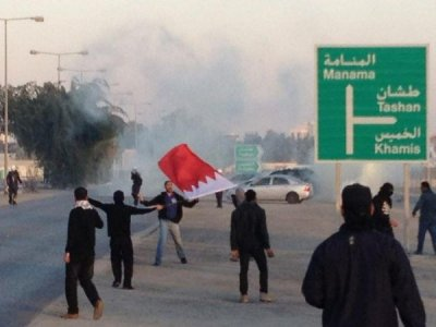 Protesters heading to Pearl Square in Bahrain