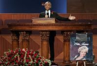 Reverend Al Sharpton delivers the eulogy at the funeral for singer Etta James, who died last week at age 73, at City of Refuge in Gardena, California