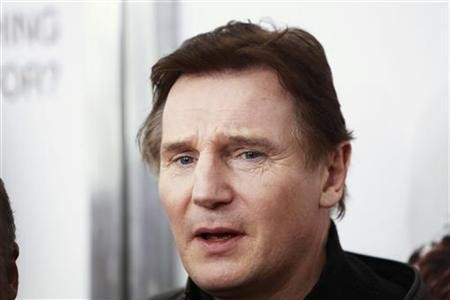 Cast member Liam Neeson arrives for the premiere of the film ''The Next Three Days'' in New York