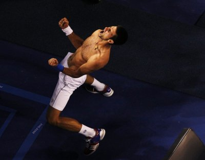 Novak Djokovic Celebrates Win Over Rafael Nadal