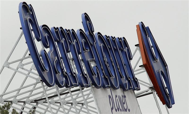 The logo of Carrefour Planet supermarket is seen in Bordeaux