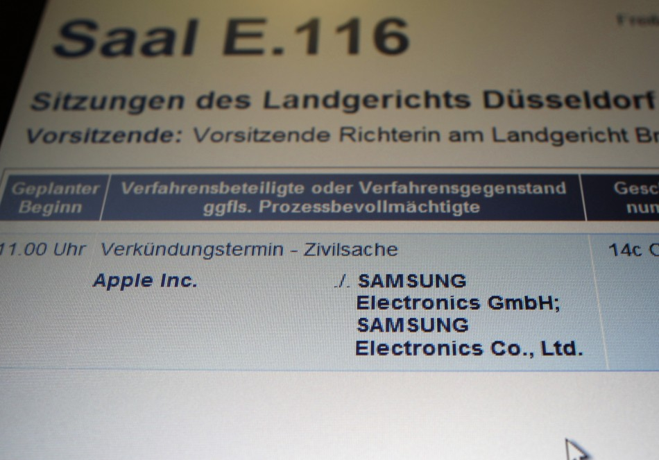 The court list pitches Apple against Samsung