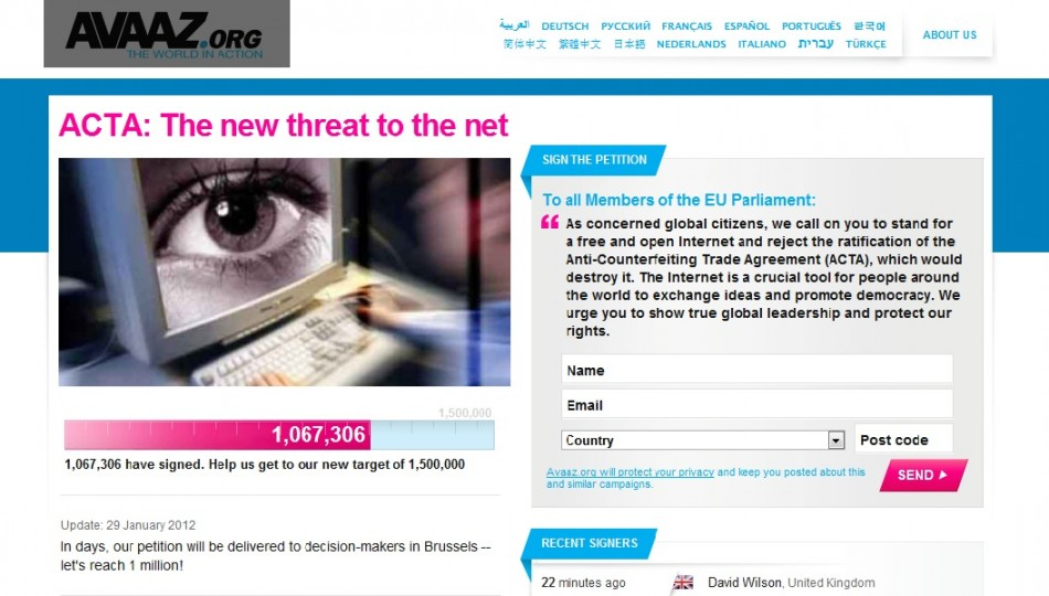 Over One Million Sign Anti-Acta Petition