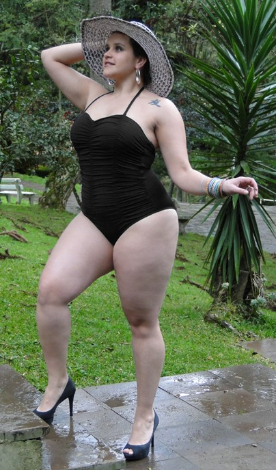 A model wears a  black swimsuit from the  Lehona plus-size collection