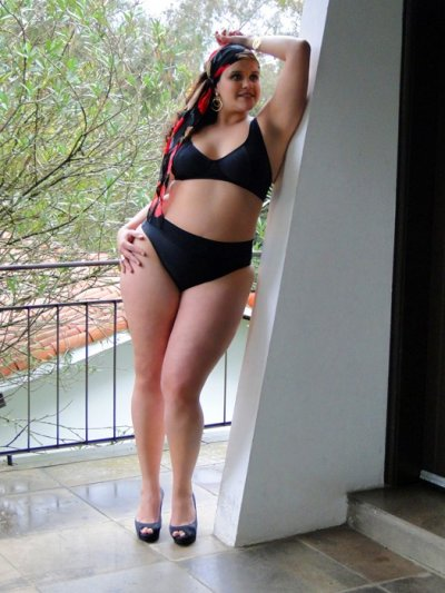A model wears a  black bikini from the  Lehona plus-size collection
