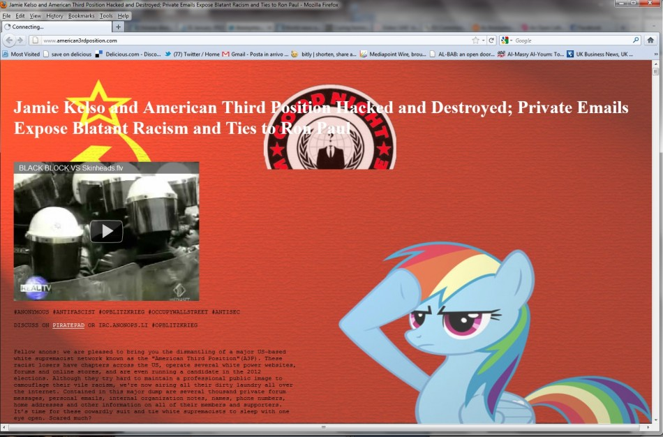 Hackers attacked and took possession of website of American Third Position, a white nationalist party