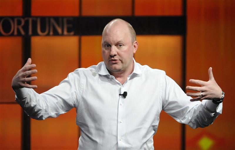 Marc Andreessen, co-founder and general partner of Andreessen Horowitz, speaks during the