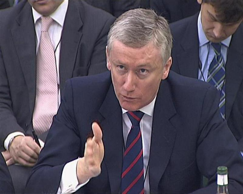 A video grab image shows Fred Goodwin the former chief executive of Royal Bank of Scotland speaking to the Treasury Select Committee in London