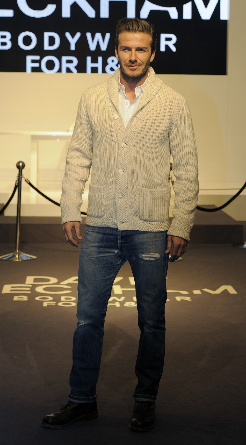 David Beckham Unveils H&M Underwear Range in London