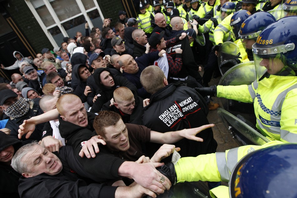 EDL clash with police during a march in Leicester 2010