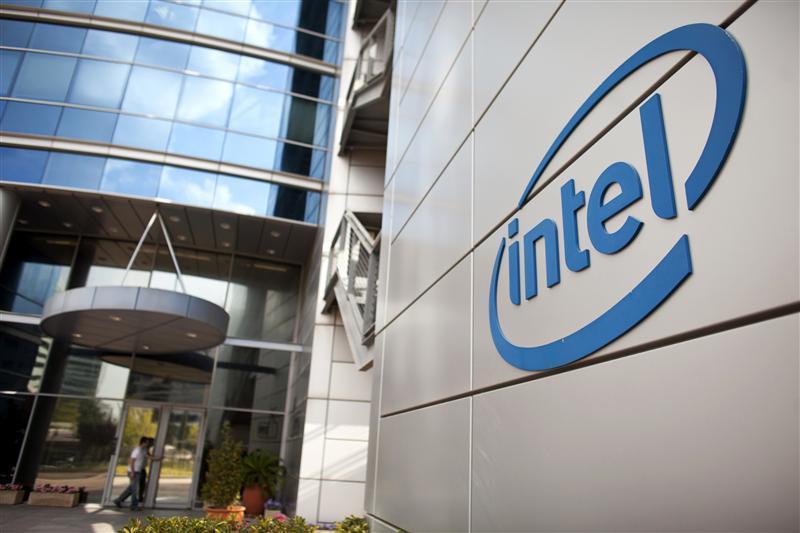 An Intel logo is seen at the company's offices in Petah Tikva, near Tel Aviv