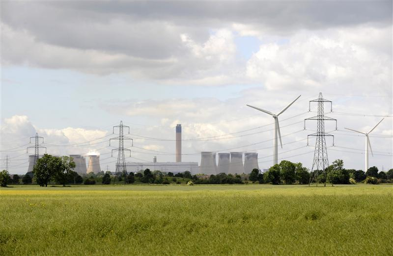 Turbines and power station chimneys are seen near Drax in northern England