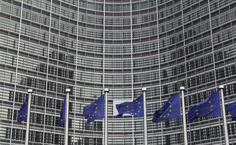 EU flags are seen outside the EU Commission headquarters in Brussels