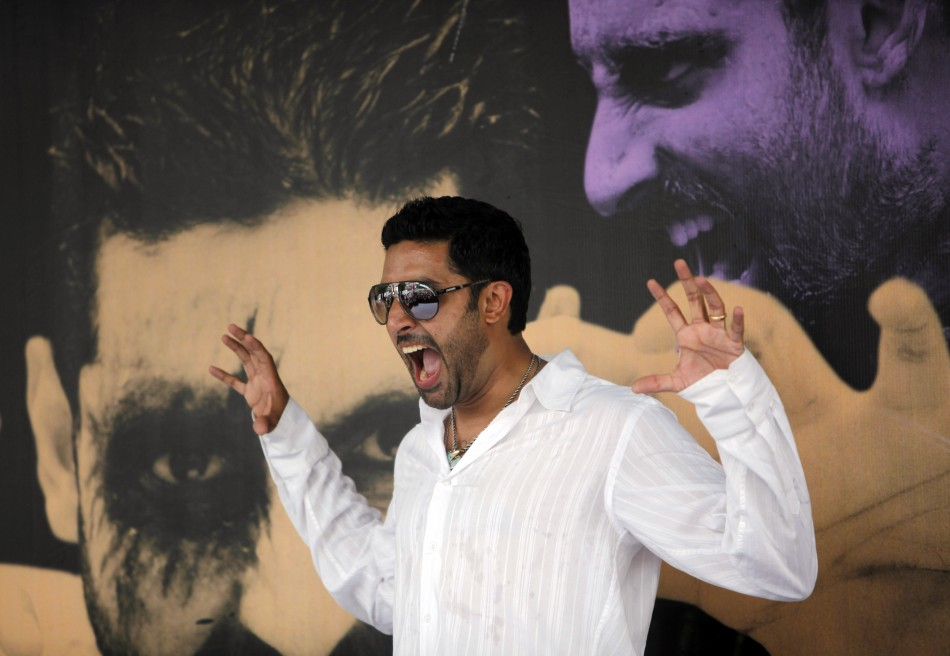 Bollywood actor Abhishek Bachchan gestures during a promotional campaign for a movie in Mumbai