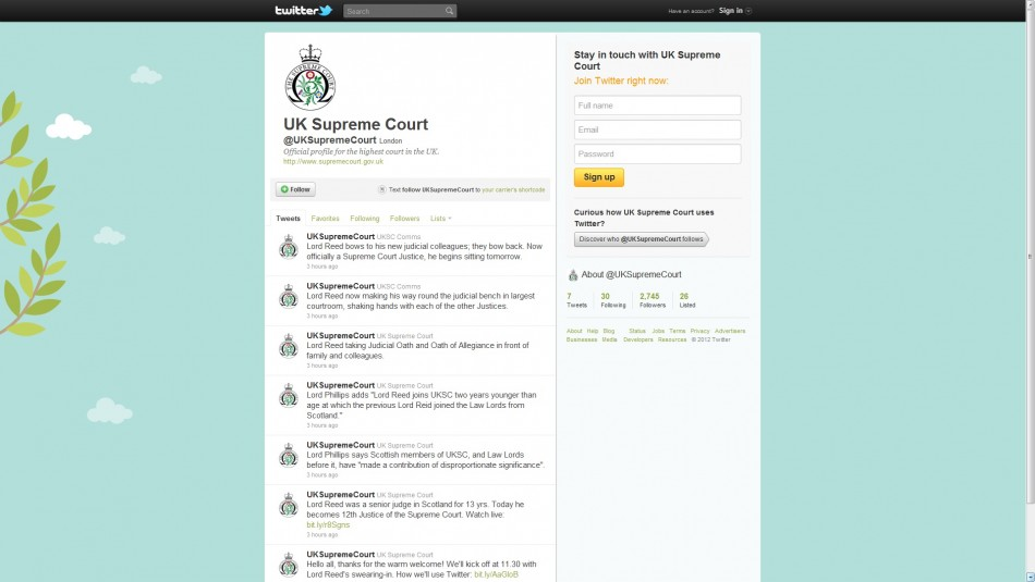 The Supreme Court of the United Kingdom is Now on Twitter