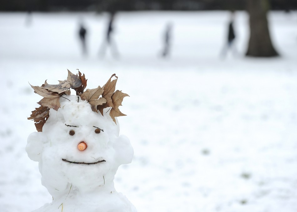 A snowman stands on Primrose Hill in north London