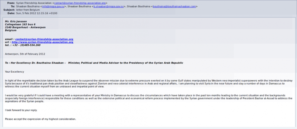 Screengrab of the email sent by Kris Janssen to Assad's adviser