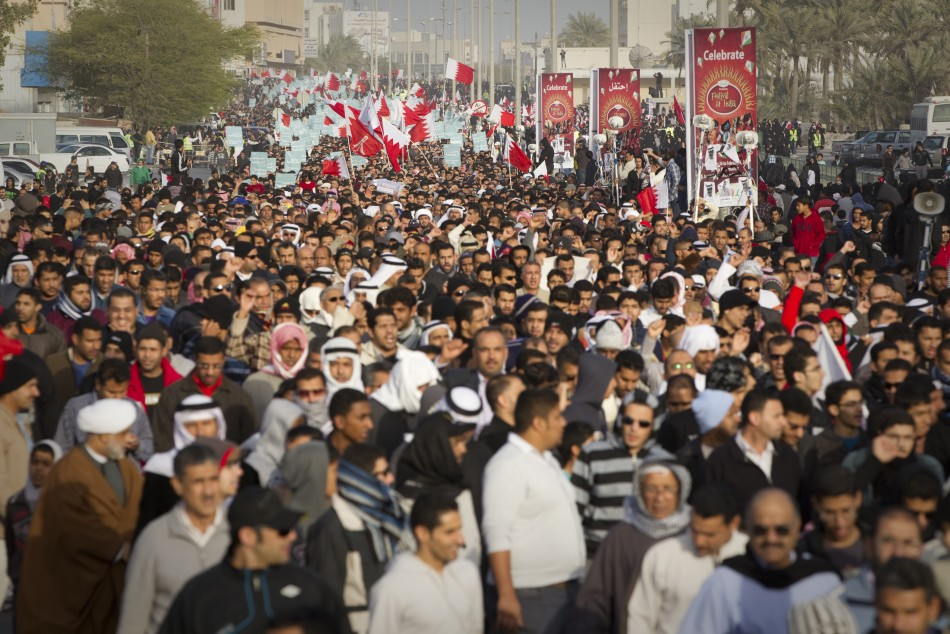 Anti-government protesters demonstrate in Bahrain's capital, Manama