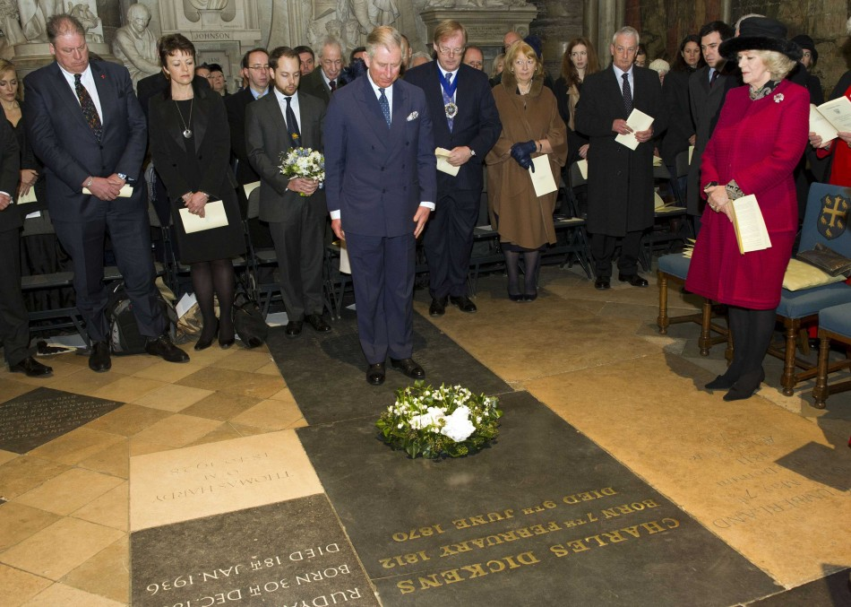 Prince Charles Lays a Wreath on Dickens' Grave during 200th Celebrations
