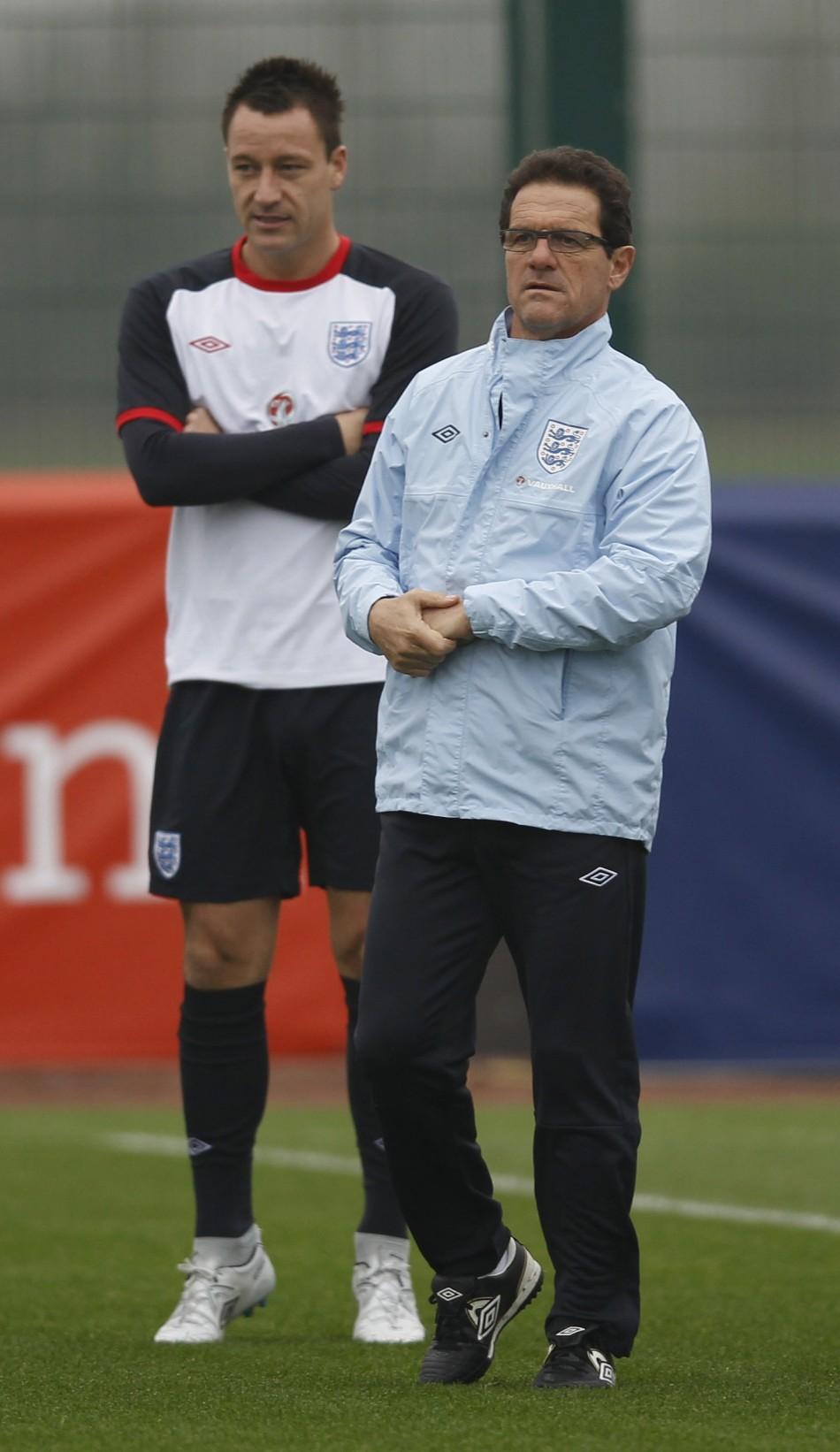 Fabio Capello and recently deposed England captain John Terry in November.